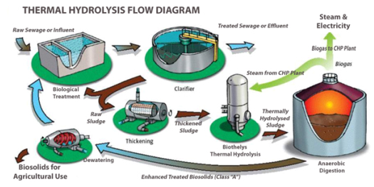 A diagram showing Veolia's Biothelys thermal hydrolysis