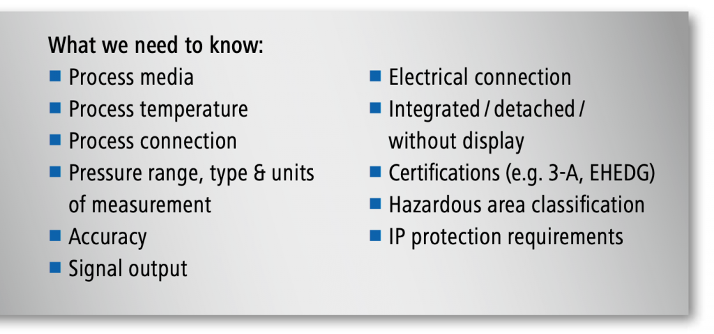 Pressure sensor specification factors
